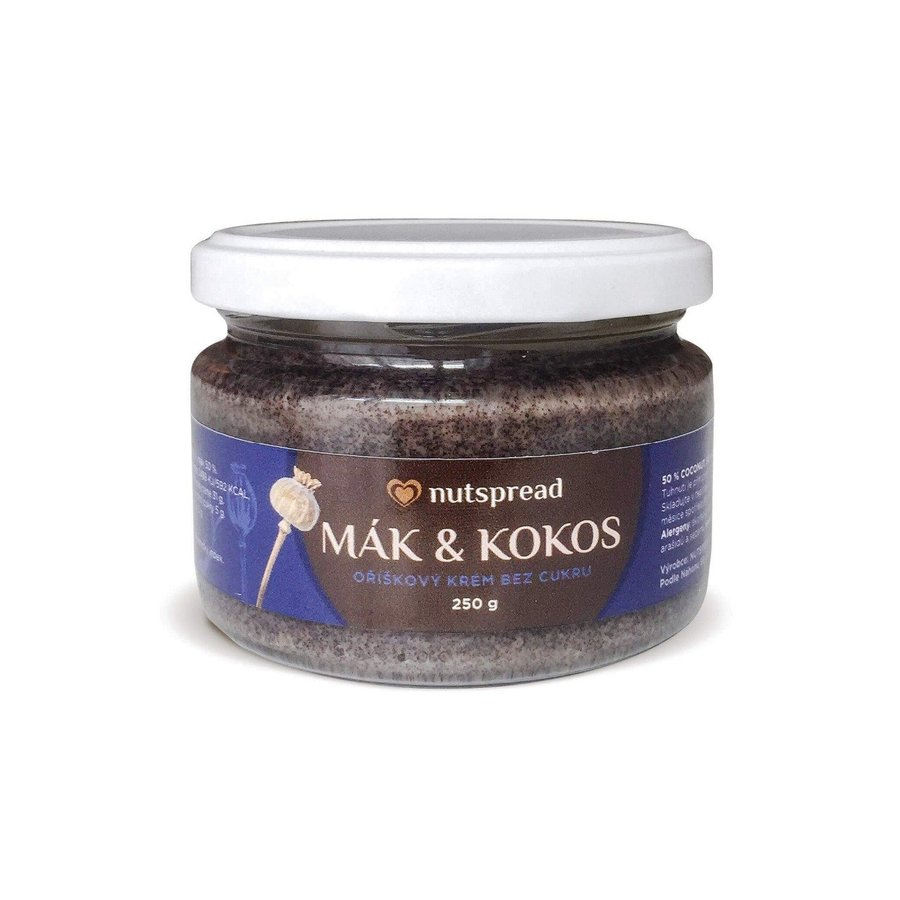Máslo - 100% Kokosovo - makové máslo NUTSPREAD 250g