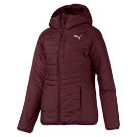 Červená zimní dámská bunda s kapucí Puma