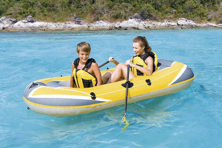 Žlutý nafukovací člun s nafukovacím dnem pro 2 osoby Hydro Force, Bestway