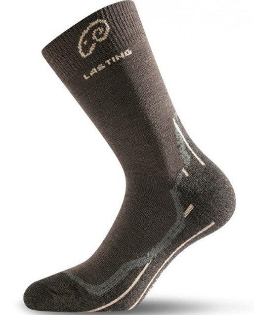 Hnědé pánské trekové ponožky Lasting - velikost 34-37 EU