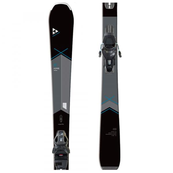 Černo-šedé dámské lyže s vázáním Fischer