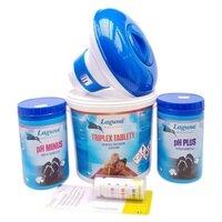 Bazénová chemie - I. MAXI set na chlorové ošetření vody (Triplex tablety, pH-, pH+, tester, plovák)