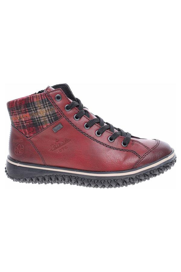 Červené dámské zimní boty Rieker