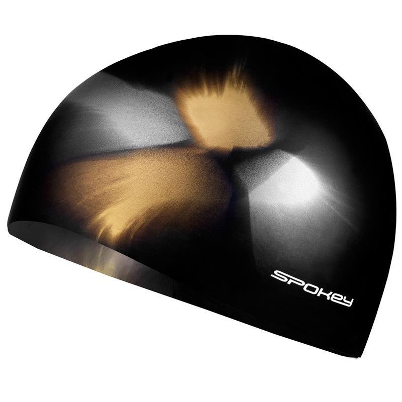 Hnědo-žlutá pánská nebo dámská plavecká čepice ABSTRACT, Spokey