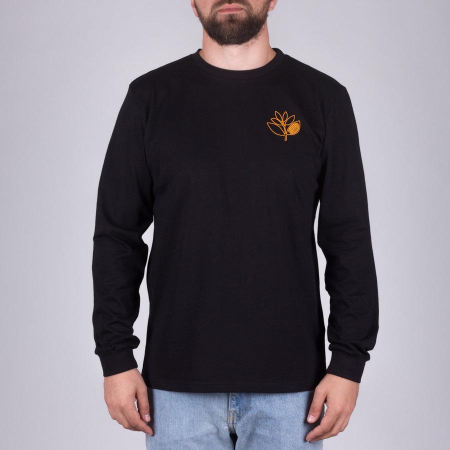 Černé pánské tričko s dlouhým rukávem s potiskem Plant Outline L/S, Magenta