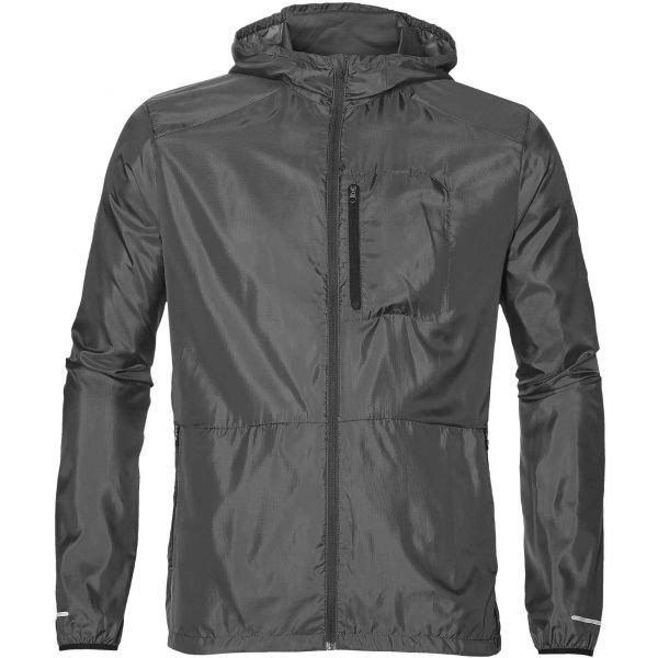 Šedá pánská běžecká bunda s kapucí Asics - velikost M