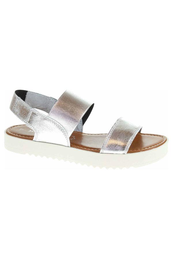Sandály - 2/2-28360/30 948 silver comb dámské sandály, klínek, gumička