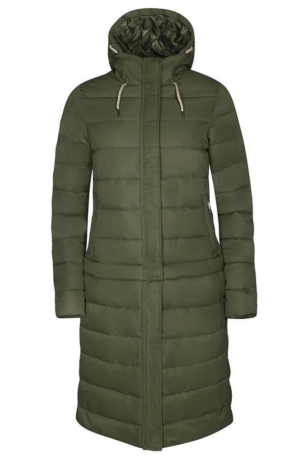 Zelený zimní dámský kabát s kapucí Alpine Pro - velikost L
