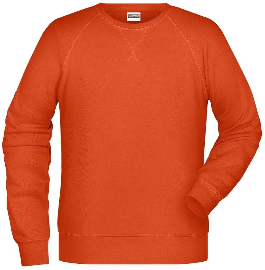 Oranžová pánská mikina bez kapuce James & Nicholson - velikost XXL