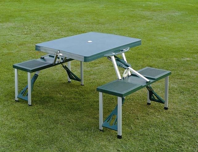 Kempingová sada nábytku - Skládací kempingový picnic set TSS - stůl s lavičkami - modrý