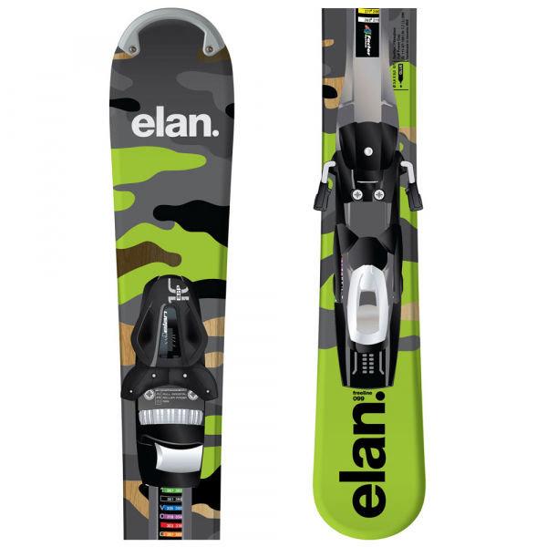 Šedo-zelené pánské lyže s vázáním Elan - délka 99 cm