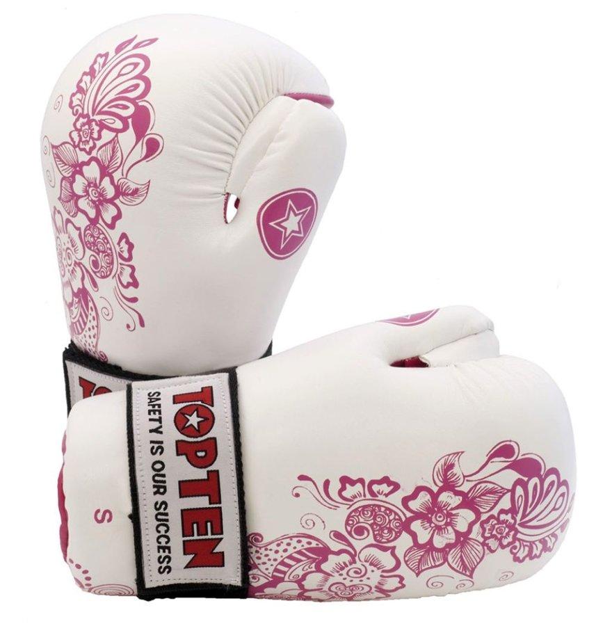 Bílo-růžová karate rukavice Top Ten