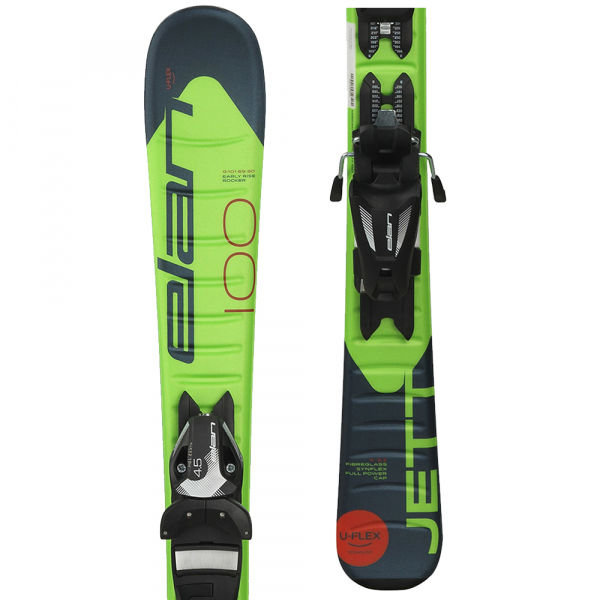 Zelené chlapecké lyže s vázáním Elan - délka 140 cm