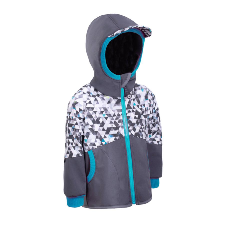 Bílo-šedá softshellová dětská bunda Unuo - velikost 116