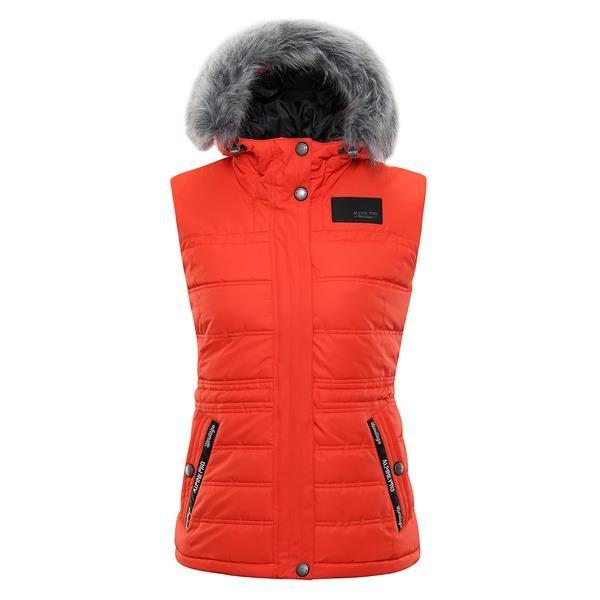 Oranžová zimní dámská vesta Alpine Pro - velikost XXL