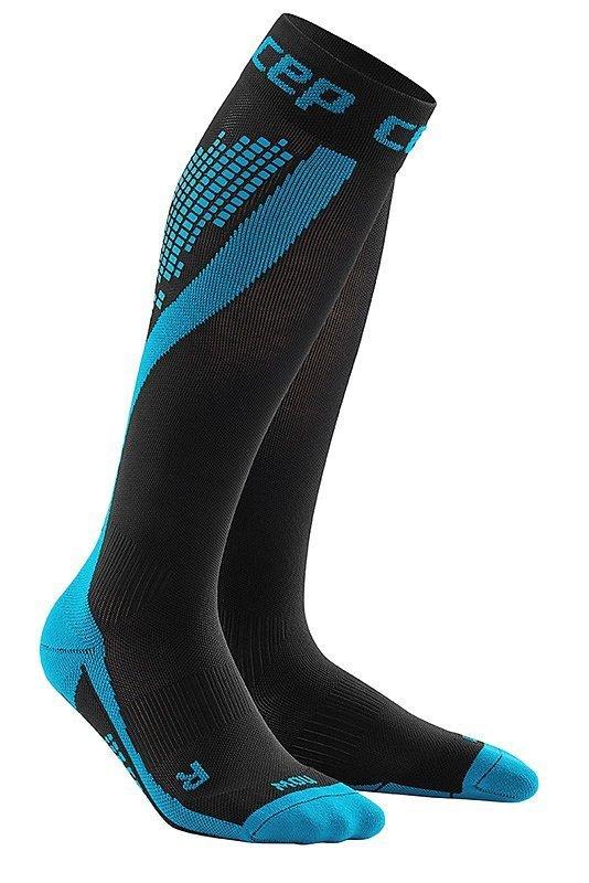Černo-modré vysoké běžecké ponožky CEP - univerzální velikost