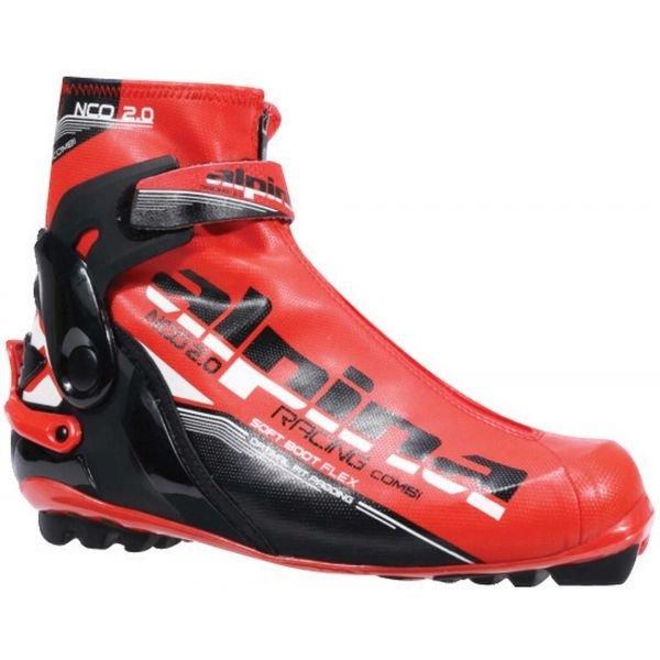 Černo-červené boty na běžky Alpina