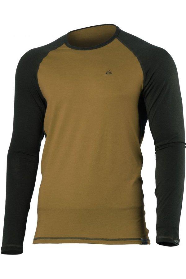 Hnědé pánské tričko s dlouhým rukávem Lasting - velikost S
