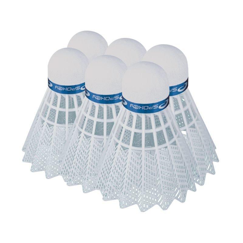 Bílý plastový badmintonový míček Spokey - 6 ks