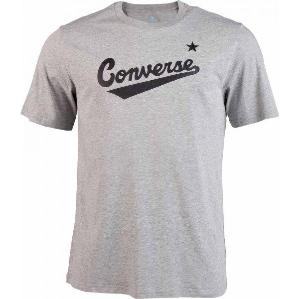 Šedé pánské tričko s krátkým rukávem Converse - velikost S