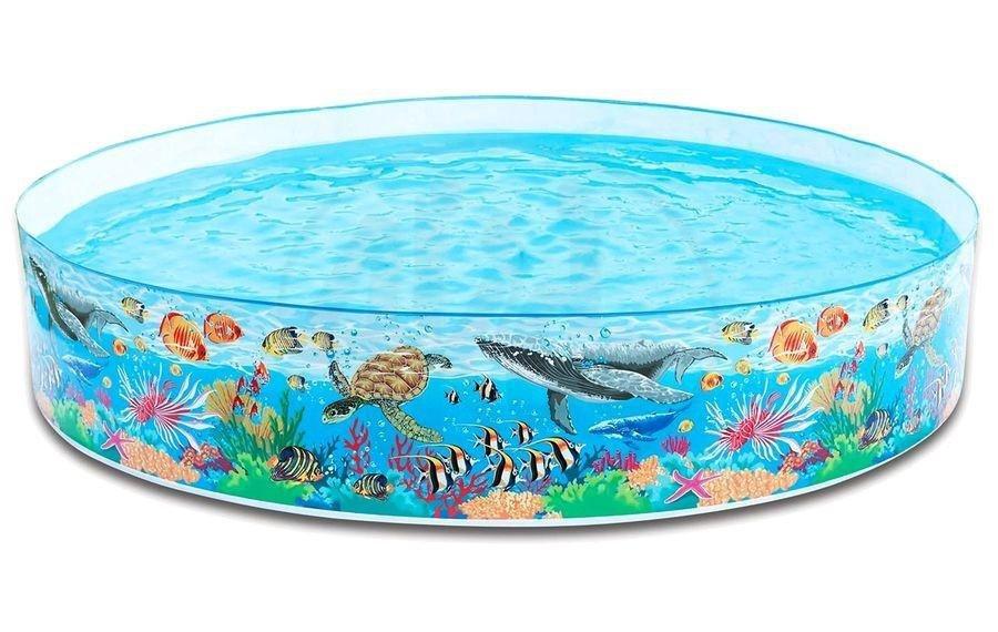 Dětský nafukovací nadzemní kruhový bazén s pevnou stěnou INTEX - objem 2089 l, průměr 244 cm a výška 46 cm
