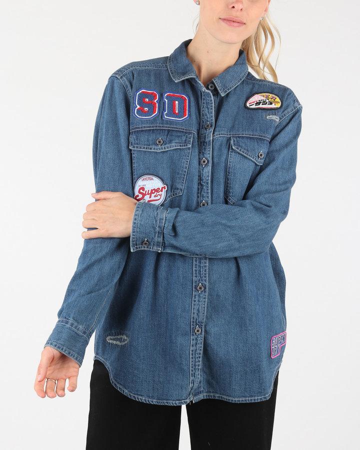 Modrá dámská košile s dlouhým rukávem SuperDry