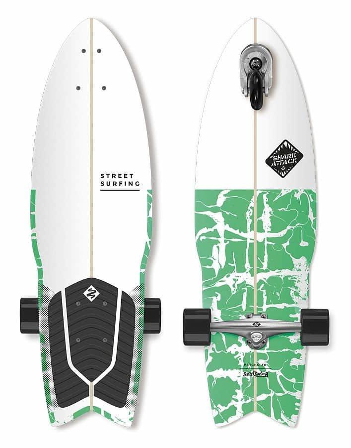 """Longboard - Longboard Street Surfing SHARK ATTACK 30"""" Psycho Green"""