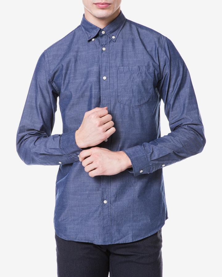Modrá pánská košile s dlouhým rukávem Jack & Jones - velikost S