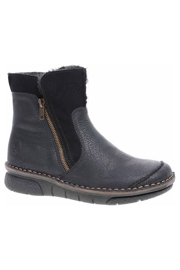 Černé dámské zimní boty Rieker - velikost 38 EU