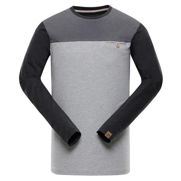 Šedé pánské tričko s dlouhým rukávem Alpine Pro - velikost XXL