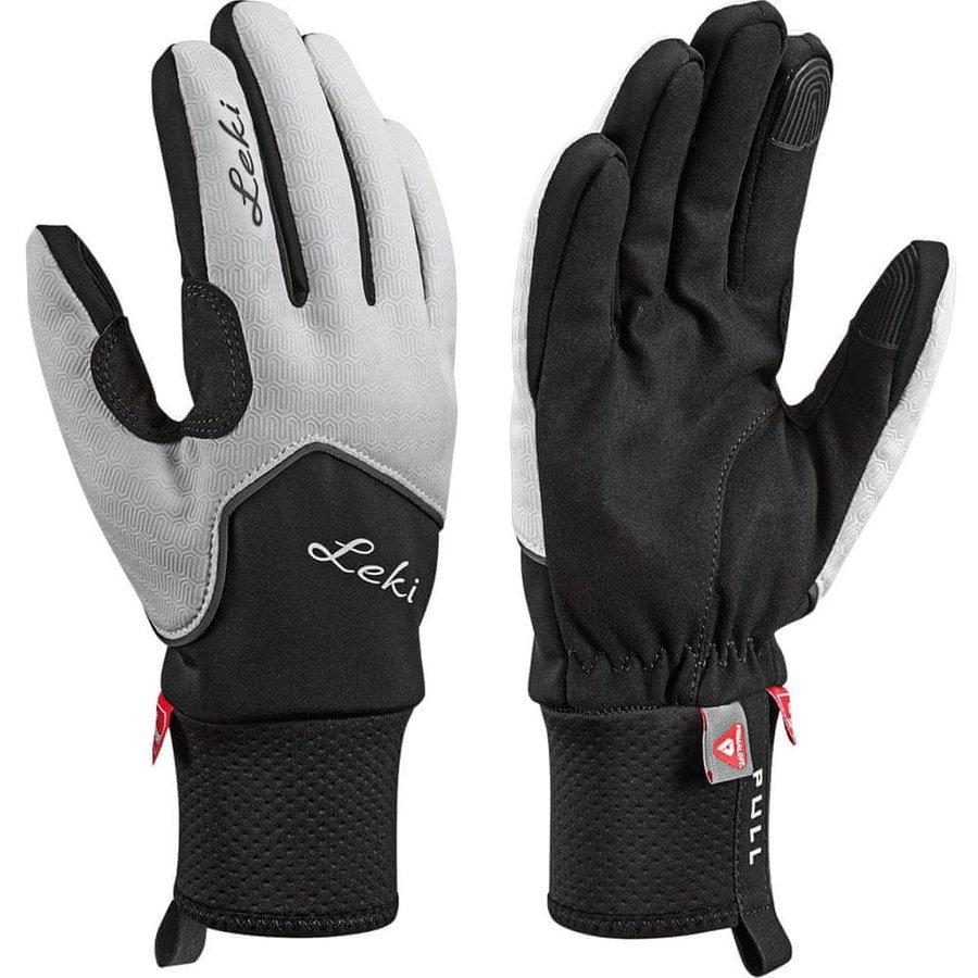 Bílo-černé dámské rukavice na běžky Leki - velikost 7,5