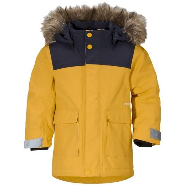 Žlutá dětská zimní bunda s kapucí Didriksons1913 - velikost 80
