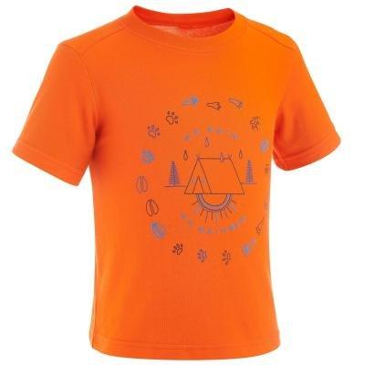 Oranžové chlapecké turistické tričko s krátkým rukávem Quechua