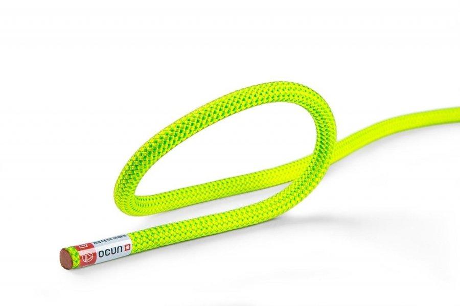 Zeleno-žluté horolezecké lano Ocún - průměr 8,8 mm