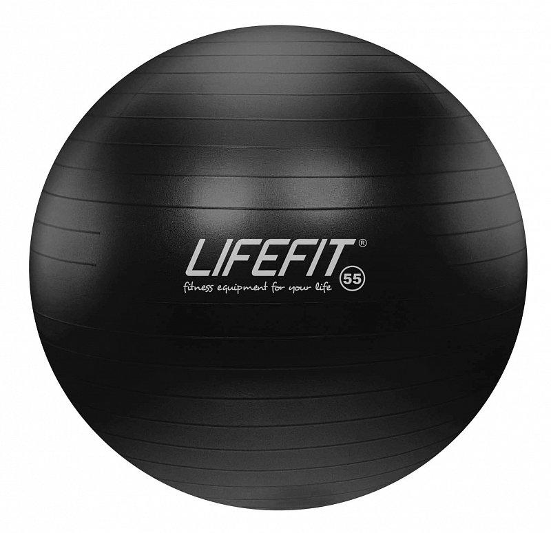 Černý gymnastický míč ANTI-BURST, Lifefit - průměr 55  cm