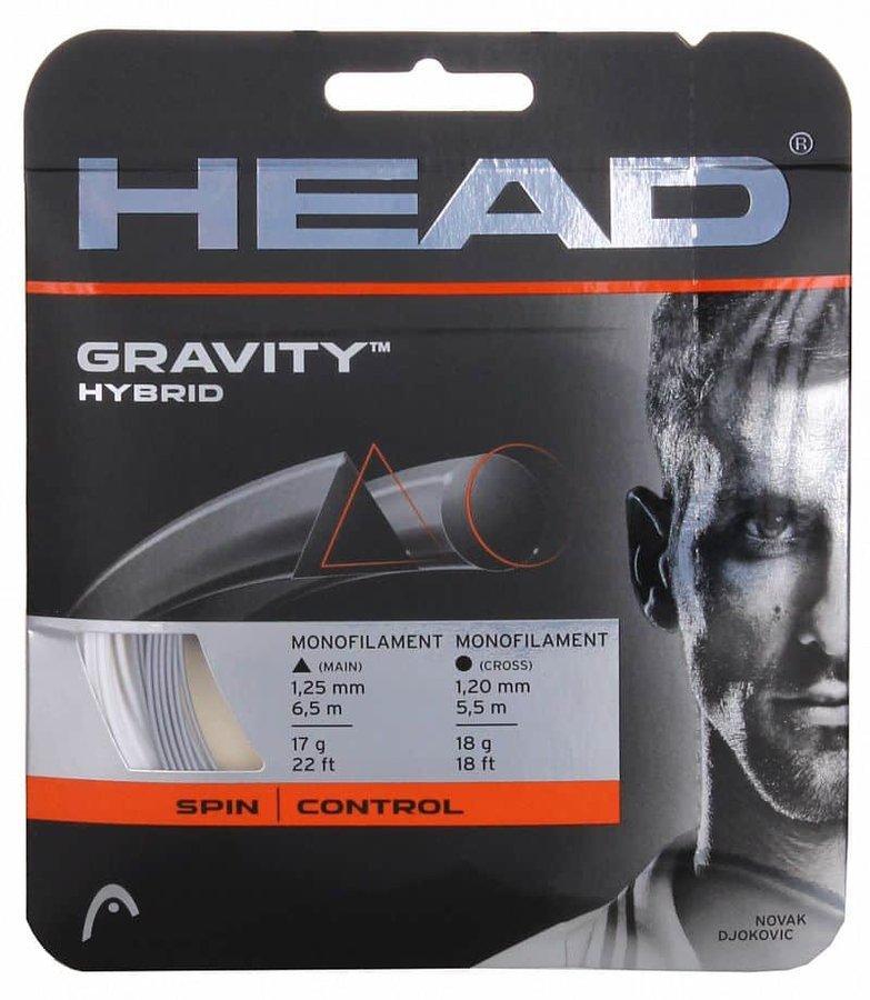 Tenisový výplet - Gravity hybridní tenisový výplet 12 m barva: stříbrná-bílá;průměr: 1,25/1,20
