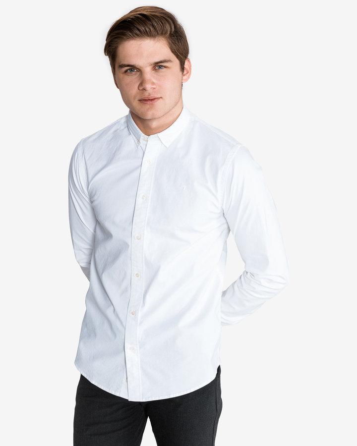 Bílá pánská košile s dlouhým rukávem Scotch & Soda - velikost S