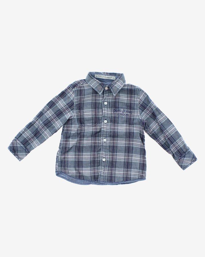 Modro-šedá dětská chlapecká košile s dlouhým rukávem Pepe Jeans - velikost 122