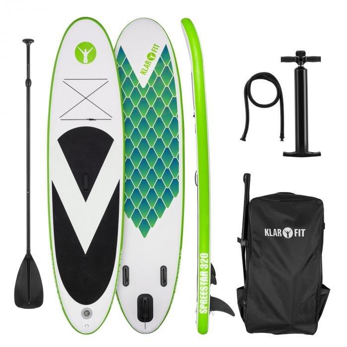Paddleboard - Klarfit Spreestar 320, nafukovací paddleboard, SUP-board-set, 320 x 12 x 81 cm, zelená barva