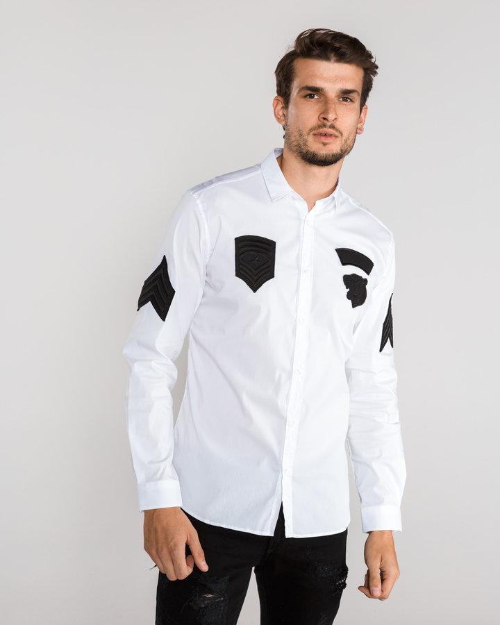 Bílá pánská košile s dlouhým rukávem Just Cavalli - velikost XS