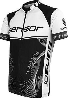 Bílo-černý pánský cyklistický dres Sensor - velikost S