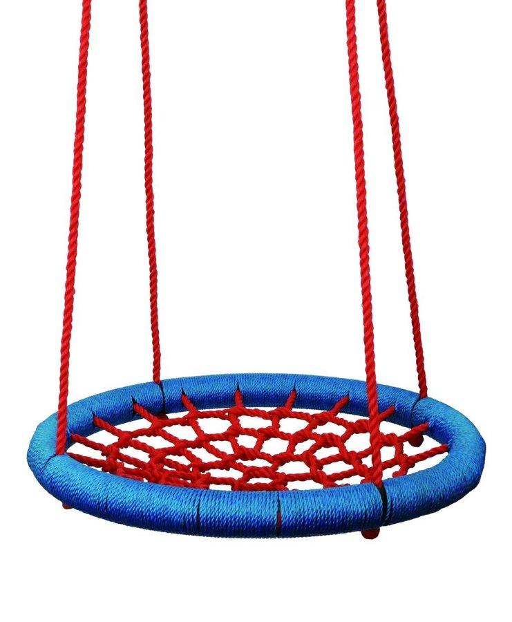 Červeno-modrý houpací kruh Woody - průměr 100 cm