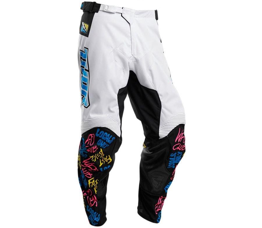 Bílo-černé pánské motorkářské kalhoty Thor