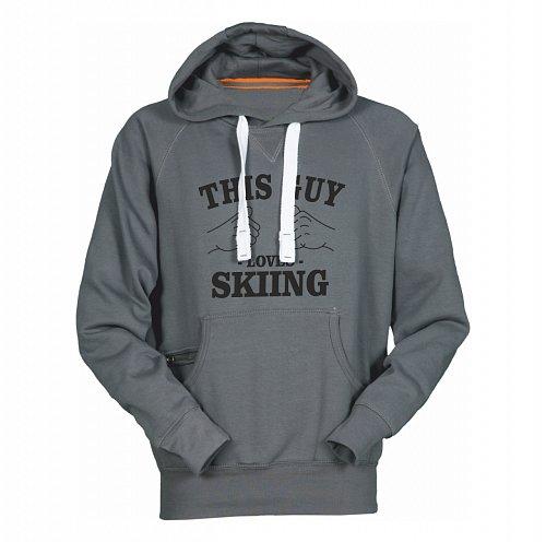 Šedá pánská lyžařská mikina s kapucí Sportinator