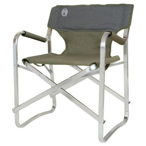 Kempingová židle - Křeslo DECK s hliníkovým rámem ZELENÉ