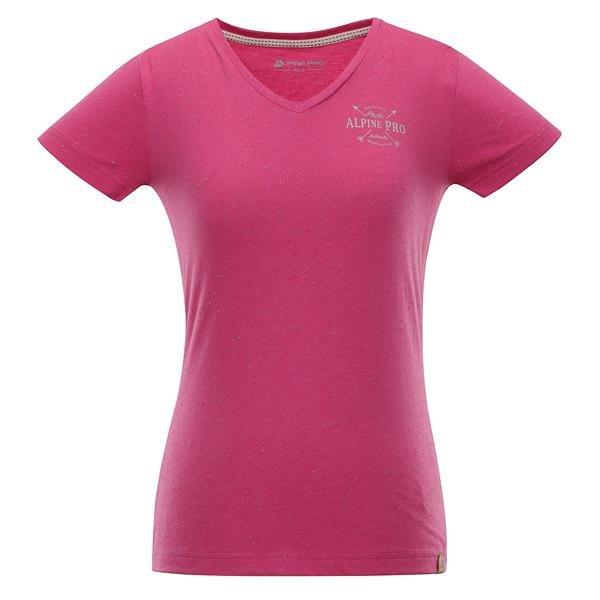Růžové dámské tričko s krátkým rukávem Alpine Pro - velikost S-L