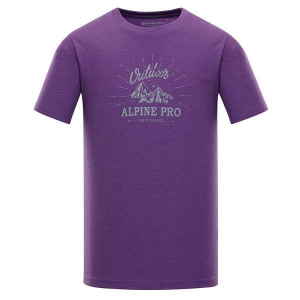 Fialové pánské tričko s krátkým rukávem Alpine Pro - velikost S