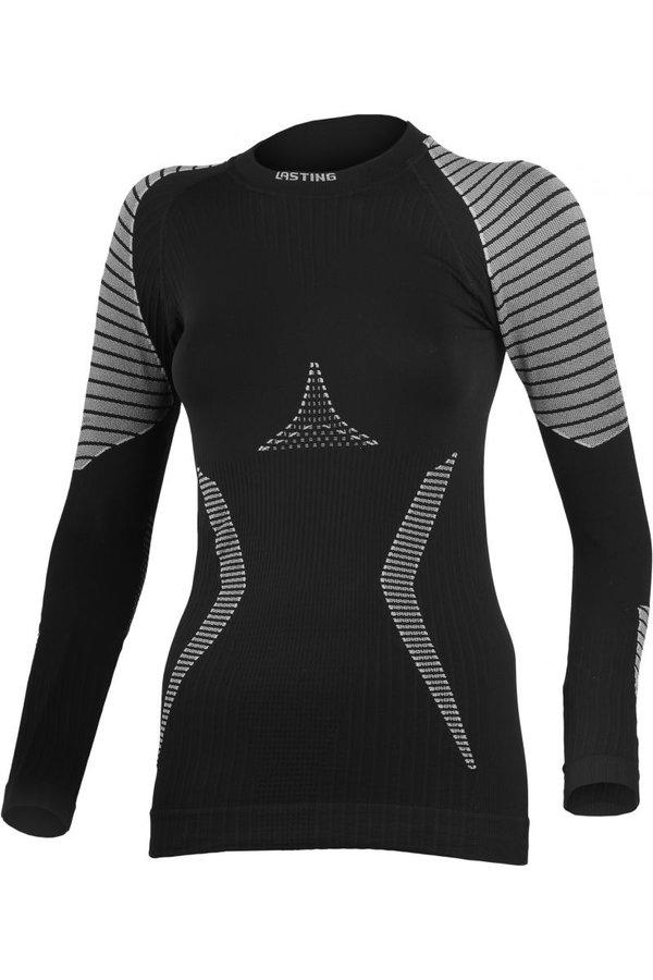 Černo-šedé dámské termo tričko s dlouhým rukávem Lasting