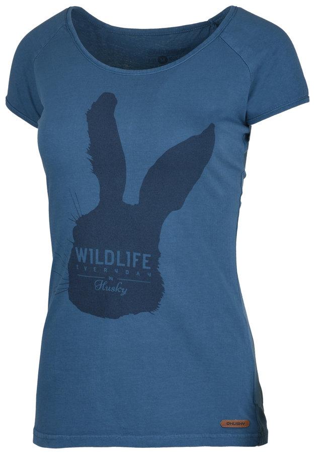 Modré dámské tričko s krátkým rukávem Husky - velikost L