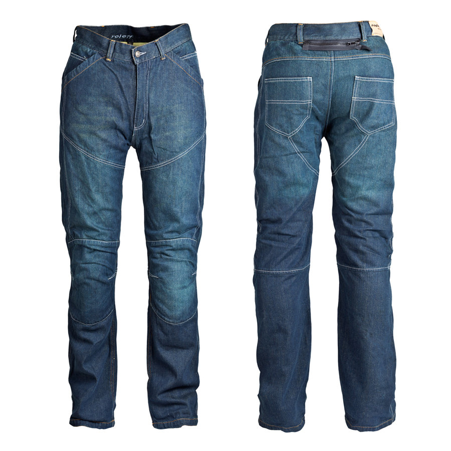 Modré pánské motorkářské kalhoty Aramid, Roleff